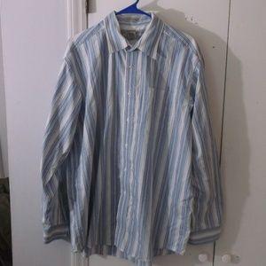 LL Bean Blue Stripe Cotton Long Sleeves Shirt L